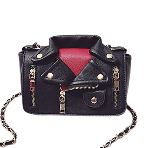 Women's Crossbody Jacket Motorcycle Satchel 2 Bag QZUnique Rivet Handbag Shouldbag Black Leather PU SdqRfw