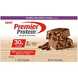 Premier Protein Nutrition Bar, Double Chocolate Crunch, 30g Protein, 2.53 Ounce Bars (Pack of 6)