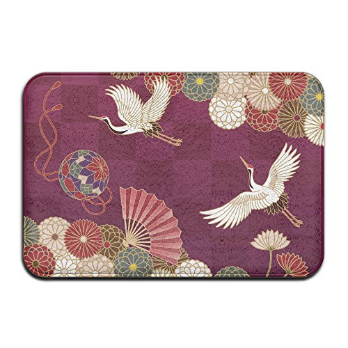 Embroidered Pique Sham (Japanese Traditional Crane Non Slip Washable Cozy Indoor Bathroom Mat For Living Room Bedroom (23.6