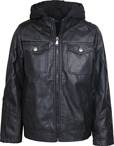 Urban Republic Boys Faux Leather Jacket with Fleece Hoodie, Black, Size 10/12' -