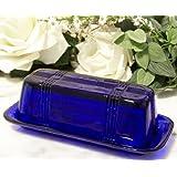 Butter Dish Cobalt Blue Glass