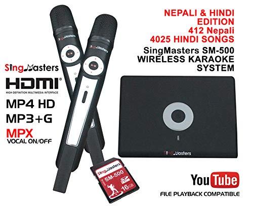 SingMasters Nepali + Hindi Karaoke Player,412+ Nepali Songs,4025+ Hindi Songs,Dual wireless Microphones,YouTube Compatible Hindi Magic Sing,HDMI,Song recording,Karaoke Machine