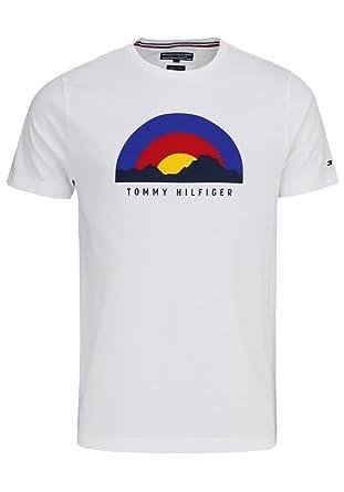 aa9450b2c3118 Tommy Hilfiger Halbarm T-Shirt Rundhals Statement-Print Muster weiß Größe  XXL