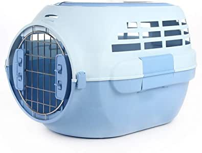 Pet Supplies Out Air Box Portable Travel Consignment Pet Air Box with Skylight Cat Air Box Breathable Portable (Color : Blue)
