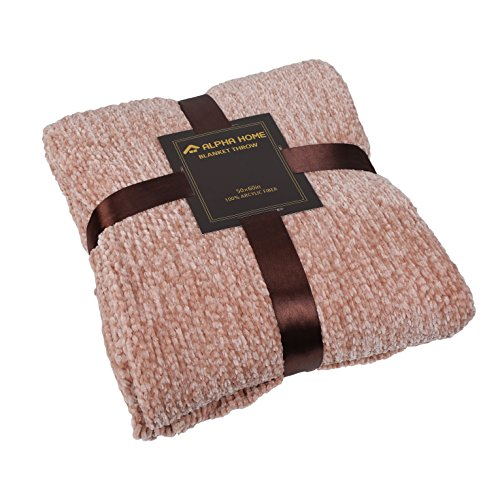 ALPHA HOME Extra Soft Chenille Throw Blanket Decorative Throw for Bed, Couch, Sofa, 60