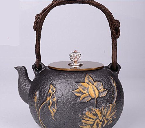 RUIKA Japanese tetsubin Cast Iron Teapot Beautiful Lotus pattern Kettle 1400ml 48 Ounce Black by ruika