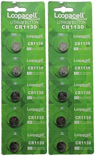 10 Loopacell CR1130 Lithium 3 Volt Cell Batteries