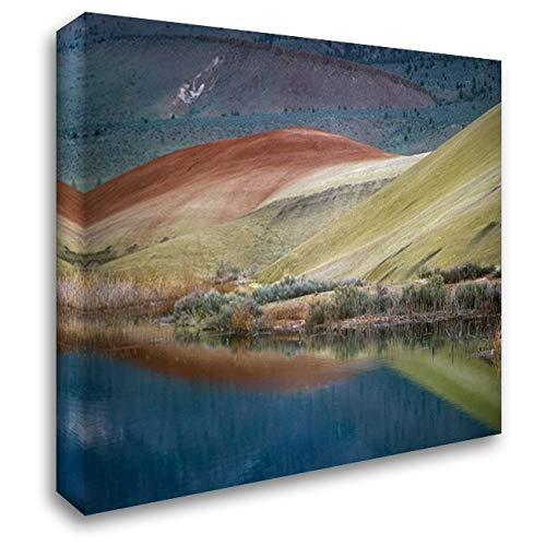 Painted Hills Reflected in Water, John Day Fossil Beds National Monument, Oregon 36x28 Gallery Wrapped Stretched Canvas Art by Fitzharris, Tim (John Day Fossil Beds National Monument Oregon)