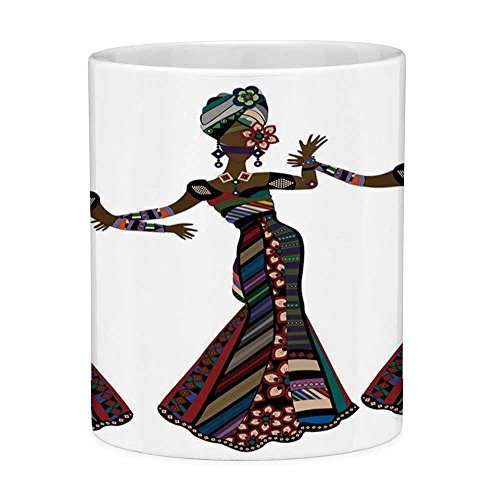 Lead Free Ceramic Coffee Mug Tea Cup White African Woman 11 Ounces Funny Coffee Mug Young Women in Stylish Native Costumes Carnival Festival Theme Dance Moves Decorative Multicolor