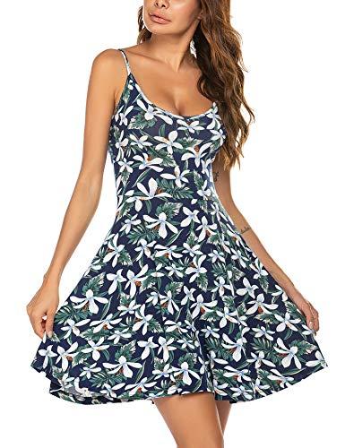 Unibelle Sommer Stand Swing Ärmelloses, Sommerkleid Negligees Minikleid Verstellbares Riemchen Midi Kleid Blumen Buntfarben Unifarben S-XXL