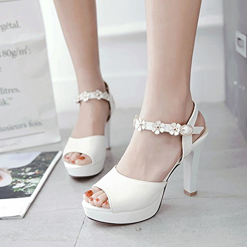 Donna Elegante Bianco col MissSaSa Alto Sandali Tacco dB1S4