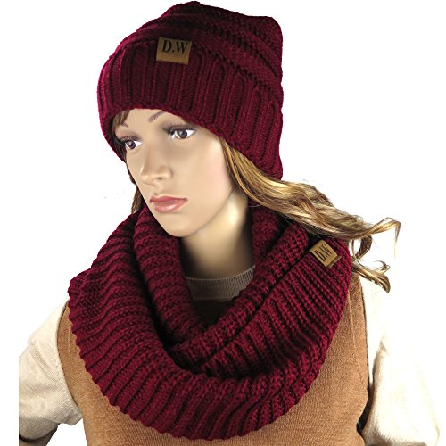 Knit Infinity Loop Scarf And Beanie Hat Set, Warm For The Winter Burgundy By Debra Weitzner