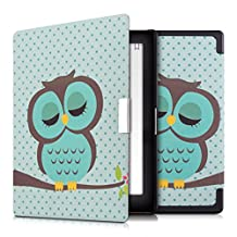 kwmobile Elegant synthetic leather case for the Kobo Aura Edition 1 Design sleeping owl in turquoise brown mint