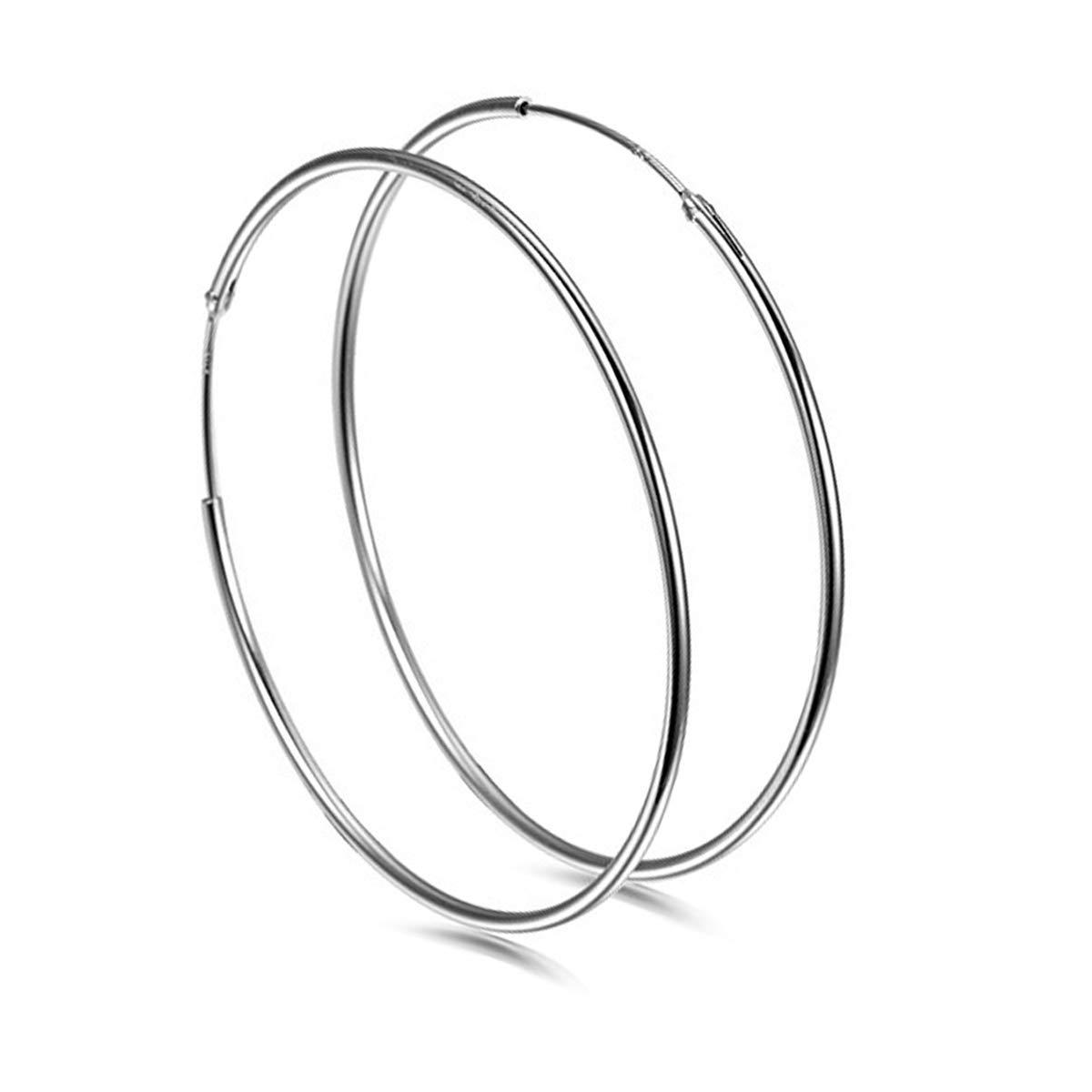 925 Sterling Silver Large Hoop Earrings 40mm Big Endless Round