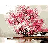 New Paint by Number Framed, Digital Oil Painting with Frame + Jiangnan Spring 16 X 20 inch + Diy Oil Painting Kits on Canvas for Adults Beginner Kids PBN with Wooden Frame Woods