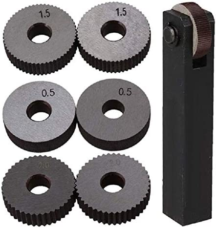 No Logo Rändelfräswerkzeuge Black & Silver Stahl Gerade Linear Rändel-Werkzeug-Set mit 0,5 mm 1,5 mm 2 mm Pitch einzelnen Rad Pack 7 Heben für Metalldrehmaschine