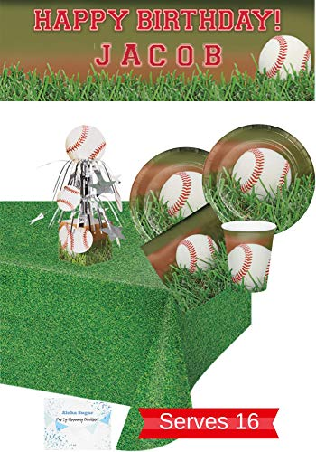 Baseball Party Supplies and Decorations - Baseball Party Plates and Napkins Cups for 16 People - Includes Banner, Tablecloth and Centerpiece - Perfect Baseball Birthday Party Decorations!