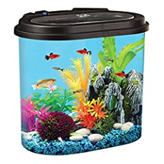 AquaView 4.5-Gallon Fish Tank includes energy-efficient LED lighting with 7 color choices plus 4 transitioning and color combinations you can choose depending on the time of day or to enhance your viewing pleasure along with internal power fi...