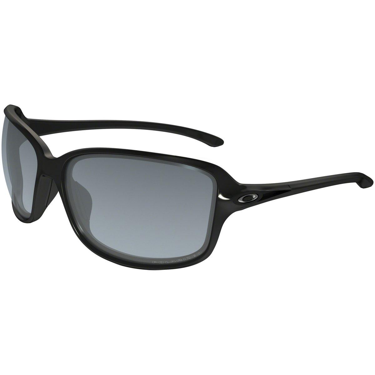 Oakley Women's Cohort Polarized Rectangular Sunglasses, Polished Black, 61 mm