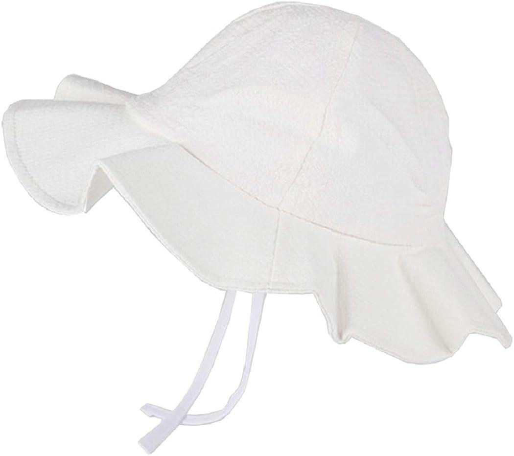 INOGIH Baby-Girl Sun-Hat with Chin Strap Baby Summer Play Cotton Beach Hat