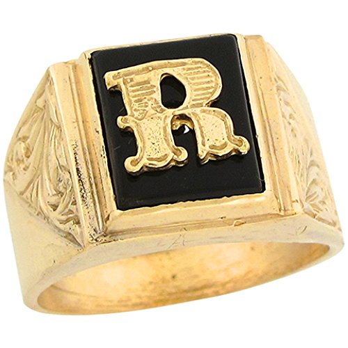 10k Real Gold 12x10mm Rectangle Onyx Letter R Fancy Mens Initial Ring -