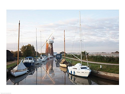 Drainage Windmill at The Riverside, Horsey Windpump, Horsey, Norfolk, East Anglia, England Art Print, 40 x 30 inches
