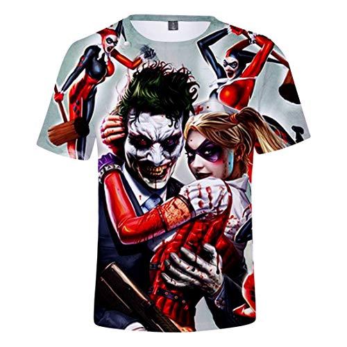 Oxking Women and Men Unisex Family Comedy Movie Summer 3D Graphic Print T-Shirt Joker Q2766C M -