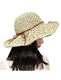 Xixihaha Summer Beach Sun Hats for Women Girls Foldable Floppy Summer Straw Hat Wide Brim Hat UV Protection