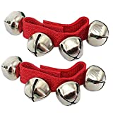 Elisona-1 Pair of Adults Kids Christmas Wrist Ankle Shaking Dancing Jingle Bell with Hook and Loop Fastener Christmas Toy Gift