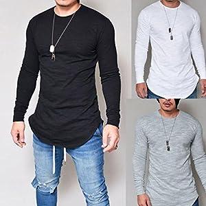 Mens Shirt,Haoricu 2017 Clearance Men O Neck Long Sleeve Slim Fit Tee T-shirt Casual Tops