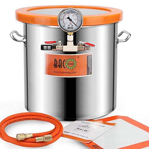 BACOENG 5 Gallon Tempered Glass Lid Stainless Steel Vacuum Chamer Perfect for stabilizing Wood, Degassing Silicones, Epoxies and Essential Oils