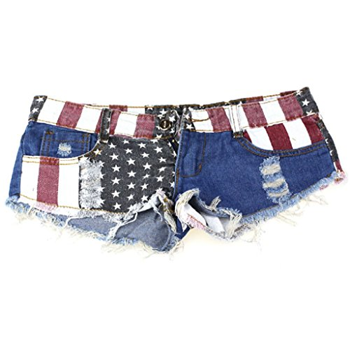 Gloous 1PC American US Flag Mini Shorts Jeans Hot Pants Denim Low Waist (27/S)