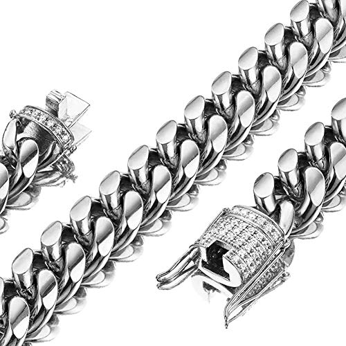 Huaming 15mm Miami Cuban Link Chain for Mens Heavy Polished Stainless Steel Curb Necklace Iced Out Link Chain with cz Diamond Chain Choker Silver 30inch ()