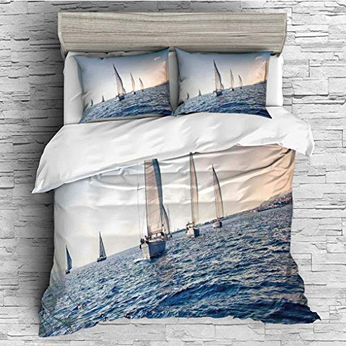(3 Pieces/All Seasons/Home Comforter Bedding Sets Duvet Cover Sets for Adult Kids/Queen/Sailboat Nautical Decor,Racing Sailboats in Mediterranean Sea Adventure Winner SPO)