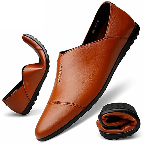 Brown on Mocassino Slip Pelle Tacco PU Uomo Style Piatto in Loafer Cricket da da Red Scarpe Driving 1Anfwqan