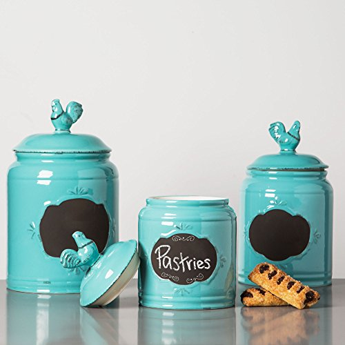 (Set of 3 Durable Blue Chalkboard Rooster Canister Set with Tight Lids for Kitchen or Bathroom, Food Storage Containers, Ceramic)