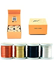 22 Gauge Tarnish Resistant Silver-Plated Copper and Copper Wire Set of 4 spools (40 Yards/ 120 Feets) for Wrapping Jewelry Making Beading Floral Artistic Craft Coil Wire kit (WF Color Set 1, 0.60 mm)