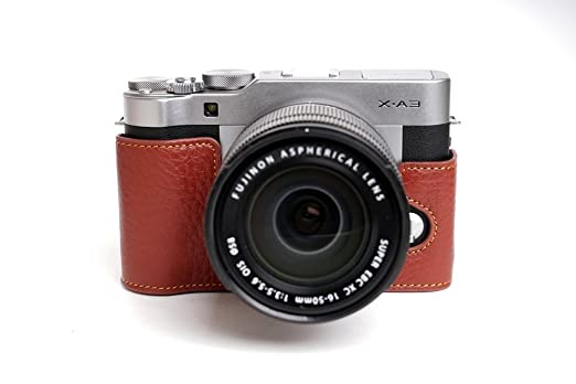 Fujifilm X A3 Case BolinUS Handmade Genuine Leather Colorful Half Camera Bag For