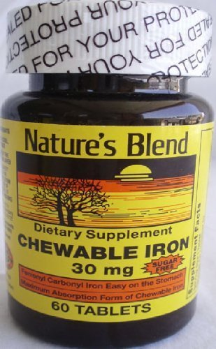 Chewable Sugar - Nature's Blend Chewable Iron Sugar Free 30MG 60 COUNT by Nature's Blend