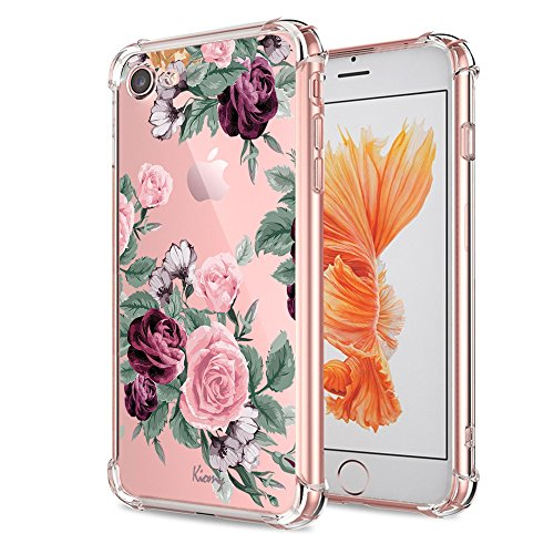(iPhone 7 8 Case Women Flower Floral Pattern Bumper Shockproof Protective Back Cover Flexible Slim Fit Soft TPU Phone Cases Clear with Cute Purple Rose Design for Apple iPhone 7 iPhone 8 4.7 Inch Girls)