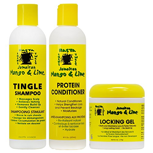 Mango Twist - Jamaican Mango & Lime Tingle Shampoo + Protein Conditioner 8 oz + Locking Gel 6 oz