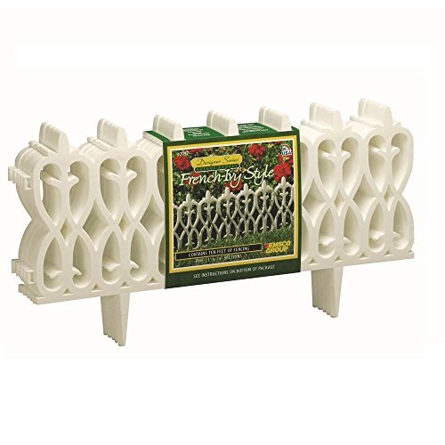 Emsco Deluxe French-Ivy Style White Resin Garden Border Fence,Durable and Weather Resistant, 30 Ft. Coverage (15 Pcs x 12 Inches ()