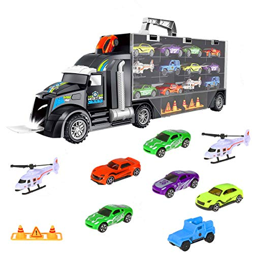 iBaseToy Toy Trucks Transport Car Carrier - Toy Cars Truck Educational Vehicles Toy Car Set Includes 12 Cars, 2 Helicopters, 28 Toy Car Slots,Great Gift for Kids, Toddlers, Children - -