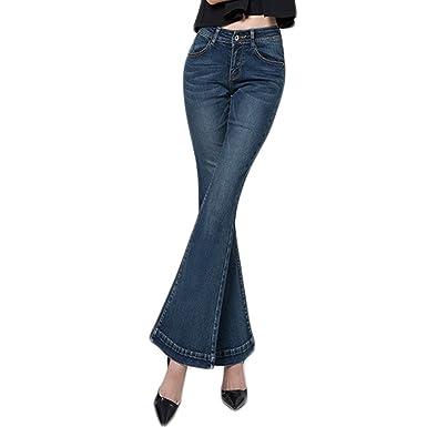 WintCO Pantalones Vaqueros Campana para Mujeres Pantalones con Pata Elefante Jeans Largos Azul
