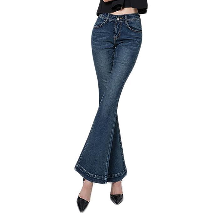WintCO Pantalones Vaqueros Campana para Mujeres Pantalones con Pata  Elefante Jeans Largos Azul  Amazon.es  Ropa y accesorios 239d29bc3c9e