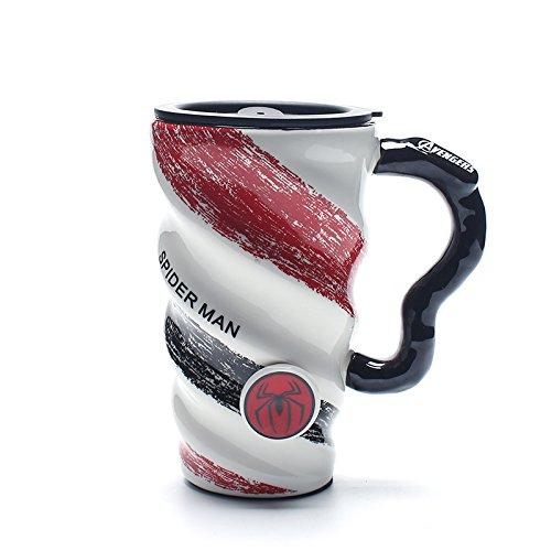 xing xiao Coffee Mugs 3D Coffee Cup Mugs/Coffee Mug/Breakfast Milk Cup/Ceramic Water Cup Coffee Mug With Cover Spoon Mug Large Capacity Office Men And Women Birthday Gift Mug/Spiderman
