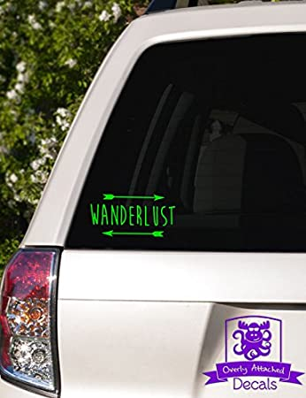 6 White Overly Attached Decals Wanderlust Arrows Car Decal