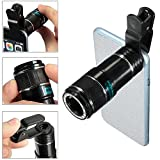 Telephoto Mobile Phone Camera Lens, Portable Universal 8X-12X Zoom Manual Focus Cellphone Camera Lens Clip-on Telephoto Lens for iPhone 7, iPhone 6S, HTC (Black)