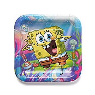 American Greetings SpongeBob SquarePants Party Supplies, Square Plates (8-Count)