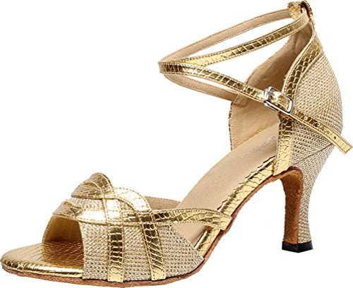 Pu shoes Abby Womens Latin Dance Ballroom Dance Wedding Peep Tango toe Gold Party xUzBqxgw1p
